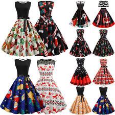 Christmas Women Summer A-Line Dress Xmas Printed Swing Elegant Party Midi Dress
