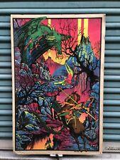 Vintage Black Light Velva-Print Poster 1970's St. George and the Dragon