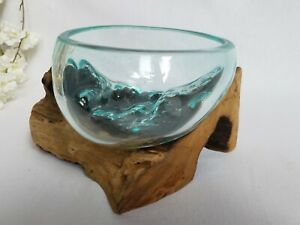 Melted Glass on Wood Sculpture/Teak Root/Rustic/Bowl/Decorative 14x14x14cm