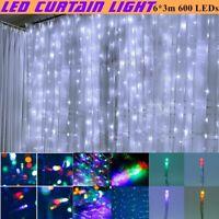 6*3m 600 LEDs Curtain Lights String Flashing Lamp Lane Christmas Festival Hot US