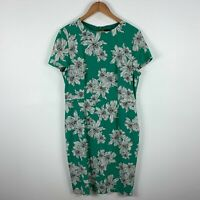 David Lawrence Silk Dress Womens 16 Green Floral Short Sleeve