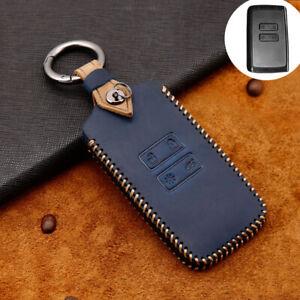Leather Remote Key Case Cover Shell Fob For Renault Megane Koleos Kadjar Blue