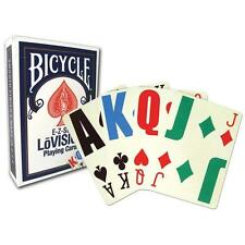 6 Decks Play Card Bicycle Lo Vision (6-Pack)  Lo Vision E-Z See Colors Vary