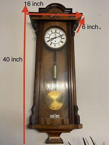 ANTIQUE SINGLE WEIGHTED 8 DAY VIENNA REGULATOR WALL CLOCK Running