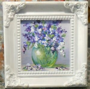 Lilacs miniature 3x3 framed original oil painting - Celene Farris Maine. mini