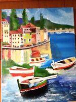 Original-One of Kind-Oil/Canvas Painting-Italian Port- Signed-COA-Listed Art