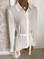 Karen Millen Ivory Belted Blouse Shirt Drop Hem Asymmetric Uk Size 8