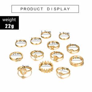 15 Pcs/set Gold Midi Finger Ring Set Vintage Punk Boho Knuckle Rings Jewelry