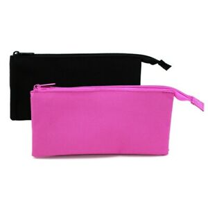 Triple Pocket Teenagers Zip Flat Back to School Pencil Case in Black or Pink