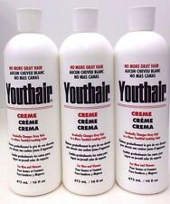 Youthair Creme, For Men and Women 16 oz (Pack of 3) NO MORE GRAY HAIR