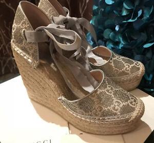 Stylish! Gucci Wedge Heritage GG Lamé Platform Espadrilles Wedge Shoes Size 37/7