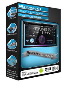 Alfa Romeo GT car radio, JVC CD USB AUX in DAB stereo Bluetooth kit