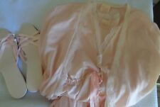 Vtge AVON Softness negligee peignoir robe sz P peach nightgown & slippers sz 8