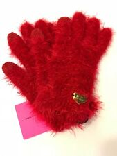 NWT BETSEY JOHNSON WOMENS RED FUZZY SOFT E-Z TAP TEXTING GLOVES