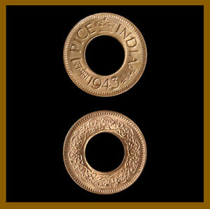 India 1 Pice Coin, 1943 Pretoria (Imperial High Crown) Serpentine Wreath Unc