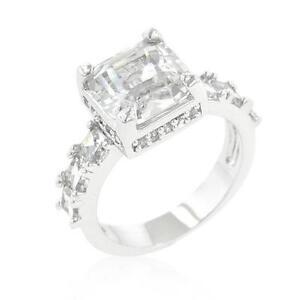 4.5 TCW Asscher & Round Cut CZ Bridal Engagement Wedding Cocktail Ring Size 5