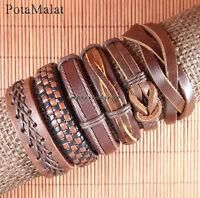 PotaMalat 6pcs Brown Leather Bangle Wristband Cuff Bracelet Jewelry Unisex-D115