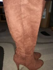ladies boots size 6 rusty Suede dark terracotta new unused knee high
