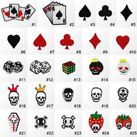 #3242R Small Skull Biker Emo Goth Poker Game Embroidered Sew Iron On Patch Badge