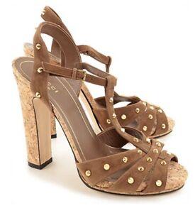 GUCCI JACQUELYNE BROWN SUEDE GOLD STUDS STUDDED CORK Shoes SANDALS 38 $895