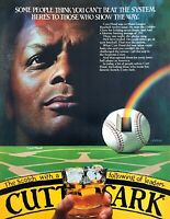 1982 Baseball Star Curt Flood photo Cutty Sark Scotch on the Rocks print ad