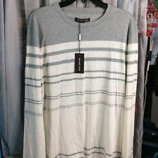 NEW Michael Kors Stripe Long Sleeve Sweater Shirt Large Heather Gray Grey White