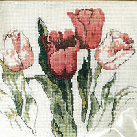 Bucilla Tulips Counted Cross Stitch Green Apple Original Janet Powers