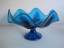 Viking Glass Epic Bluenique Blue 6 Petal Compote Pedestal Fruit Centerpiece Bowl