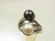 Akoya élevage Perles Diamant Bague 585 WG avec noir & blanc perle sign. FF