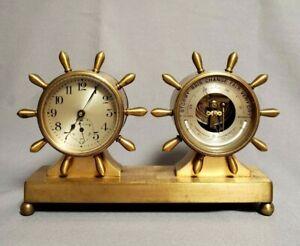"Chelsea Fulton 2 3/4"" Ships Wheel Desk Clock Barometer Set FOR PARTS or FIX ONLY"
