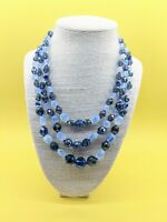 """VTG 1950 AB Peacock Blue Translucent Pressed glass bead Multi Stand Necklace 19"""""""
