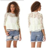 Dolce Vita Womens Size Small Lace Peplum Back Button Casual Top Blouse In White