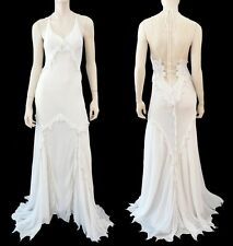 ROBERTO CAVALLI Beaded Ivory Silk 'Laced Back' Halter Gown Sm $3975 NWT~DREAMY!
