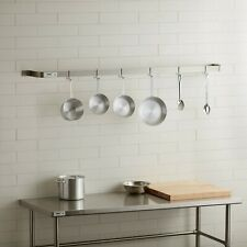 "72"" Wall Mounted Restaurant Stainless Steel Single Line Pot Rack with 6 Hooks"