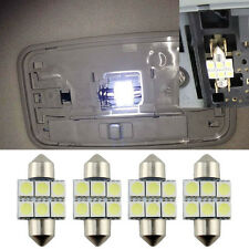 4 Pcs White 31MM 5050 6SMD Festoon Dome Map License Interior Door LED Light Bulb