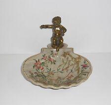Seifenschale - Schale - mit Engel aus Bronze - Blumen Muster - neu!