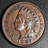 1887 INDIAN HEAD CENT - With LIBERTY & DIAMONDS - XF EF+