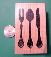 Silverware Setting - Knife/Fork/Spoon, Wood Mounted Rubber Stamp
