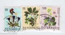 2007 Austria #2079 2080 2081 Θ used VF, set of flower stamps