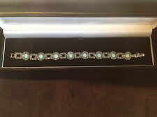 Sterling silver 1920s Art Deco Style Gilson Opal Marcasite Bracelet & gift box