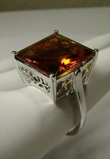 12ct Square Sim Orange Citrine Sterling Silver Filigree Ring {Made To Order}