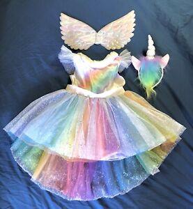 Magical Glitter Rainbow UNICORN Pegasus Wings Halloween Costume Toddler Sz 2-3T
