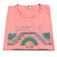 Vintage Atlantic City Souvenir Puff Print T Shirt Single Stitch Women's Large