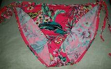 Gorgous pink floral NEW LOOK side tie bikini bottoms size 14