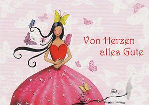 Postkarte - Prinzessin / Von Herzen alles Gute / mit Glitzer