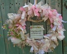 SHABBY CHIC WREATH Ribbon Lace Burlap Pink White French Handmade Spring Easter