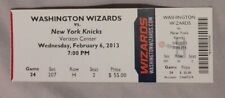 2013 Washington Wizards Vs New York Knicks 2/6/13 unused Ticket