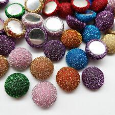 10/50pcs Glitter Fabric Covered Button Flatback Flower Center Craft