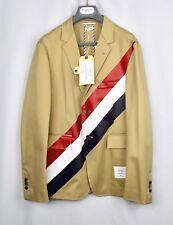 MSRP $2K THOM BROWNE Diagonal Stripe Cotton Khaki Sport Coat Blazer Jacket 3 NEW