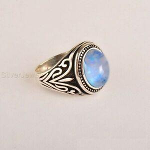 Turkish Handmade 925 Sterling Silver White Moonstone Men's Ring All Sizes P714